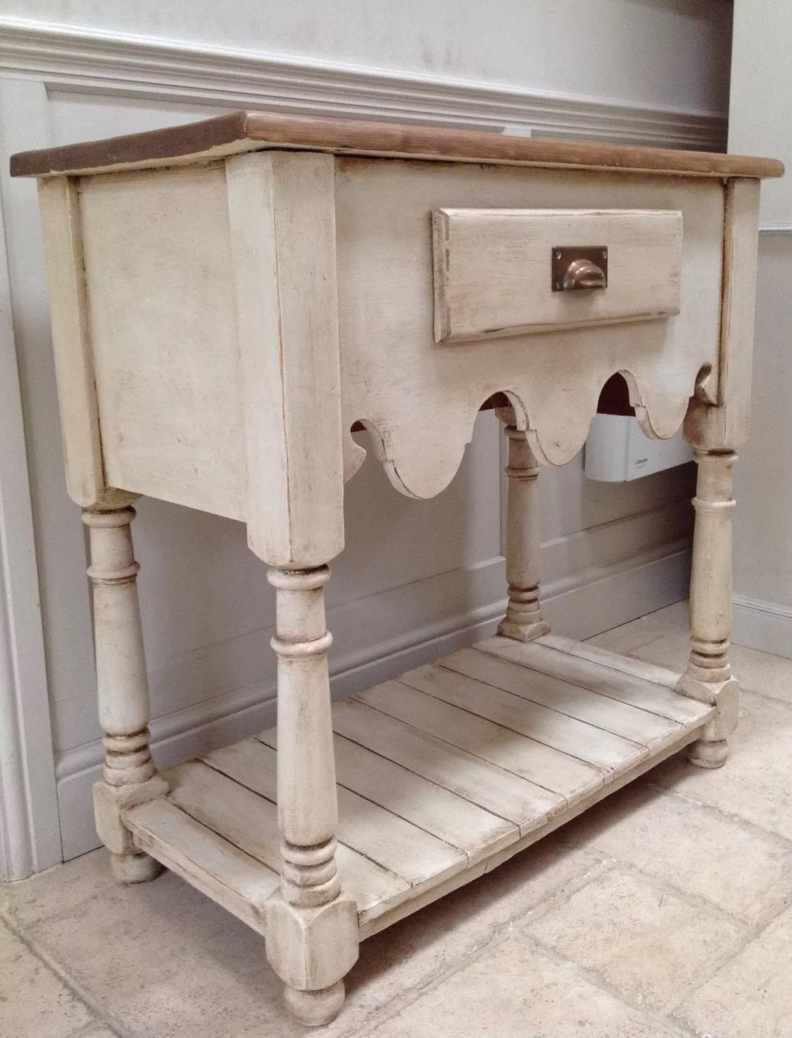 Rustic Pine Foyer Table : Rustic pine cream sideboard hall console table open